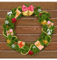 Christmas Wreath on Wooden Board 8 vector image vector image