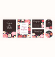 collection wedding invitation cards and labels vector image