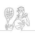 continuous one line drawing woman tennis player vector image vector image