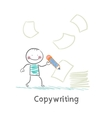 copywriter writes on paper vector image vector image