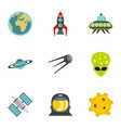 cosmos icons set flat style vector image vector image