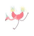 cute flamingo wearing party hat running with gift vector image vector image
