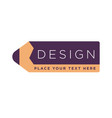 design studio logotype with text written on pencil vector image vector image