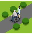 Disabled Retired People Life Isometric Banner vector image vector image