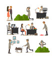 Flat icons set of detective profession