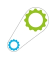 gears with chain isolated icon design vector image vector image
