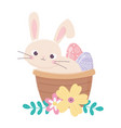 happy easter day rabbit in basket painted egg vector image