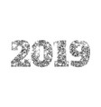 happy new 2019 year silver glitter particles and vector image vector image