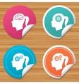 Head with brain icon Female woman symbols vector image vector image