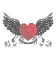 Heart with wings and ribbon vector image