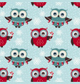 merry christmas seamless pattern with owls vector image vector image
