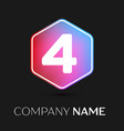 number four symbol in colorful hexagonal vector image vector image