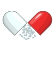 Open capsule pill icon cartoon style vector image