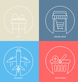 Outline e-commerce web icon set vector image