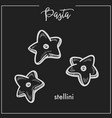 pasta stellini stars chalk sketch for italian vector image vector image