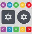 pentagram icon sign A set of 12 colored buttons vector image vector image