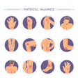 physical injuries poster with body parts and vector image