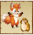 Playful Fox scared the hamster and it crying vector image vector image