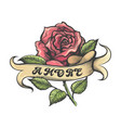 red rose and banner with lettering amore tattoo vector image vector image