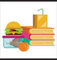 school lunch poster children dinner near pile of vector image vector image