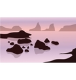 Silhouette of rock in beach vector image vector image
