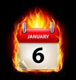sixth january in calendar burning icon on black vector image vector image