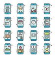 smart phone functions and apps icon set in vector image vector image