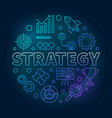 strategy round blue outline vector image