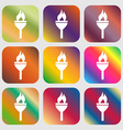Torch icon Nine buttons with bright gradients for vector image vector image