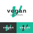 vegan logo letter v logo logo template vector image vector image