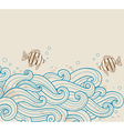 vintage sea background with fishes vector image vector image