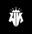 wn logo monogram shield shape with crown design vector image vector image