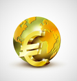 World economic concept with 3d gold world and euro vector image vector image
