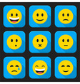 Yellow smiling faces squared app icon set vector image vector image