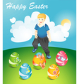 Happy Easter Easter eggs and running little boy vector image