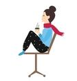 woman holding coffee tea mug in chair enjoy her vector image