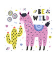 be wild card with cute llama eating cactus funny vector image