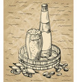 beer set on wooden tray vector image vector image