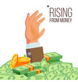 businessman hand rising from money vector image vector image