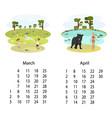 calendar 2018 march april vector image vector image