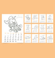 calendar 2020 year with cut mice vector image vector image