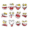 cartoon faces emotions isolated on white vector image vector image