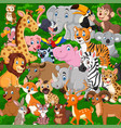 cartoon wild animals collection set vector image vector image