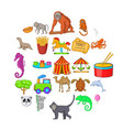 circus icons set cartoon style vector image