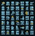 coffee machine icons set neon vector image vector image