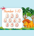 count number from one to ten dinosaur theme vector image vector image
