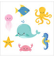 cute baby sea fishes cartoon underwater animals vector image vector image