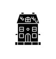 cute family house black icon sign on vector image