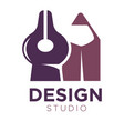 design studio logotype with pencil and divider vector image vector image