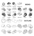 different kinds of nuts monochrom icons in set vector image vector image